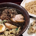 78943322 - 黒胡麻ブラック担々麺+半チャーハン餃子セット