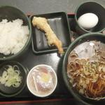 ゆで太郎 - 私が頼んだ納豆ご飯&そば360円、クーポンで海老天150円が無料(2017.12.7)