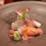 Hayashi - 造り 赤貝、車海老、イカ、コシビマグロ 松前酢