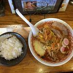 めん丸 - 料理写真:辛味噌野菜  半麺  普通麺  L辛  トッピングに辛ネギ  ニンニク  半ライス   締めて1180円