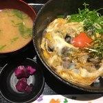みくに食堂 - 究極の親子丼(*´ω`*)味噌汁漬物