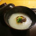 たまさか - 椀物 かぶら汁 そば豆腐 牡蛎 あみ茸 芹 柚子