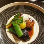 たまさか - ぶりステーキ 堀川牛蒡 銀杏 スナップエンドウ クレソン たたき芋