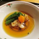 たまさか - 煮物 寒堀筍とふぐ白子の煎り出し 伏見唐辛子 赤おろし 葱