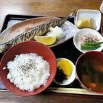 味処長誉 - サンマの塩焼き定食 690円