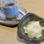 すしの田丸家 - ランチセットのドリンク(コーヒー)とデザートの酒粕と柚子のゼリー