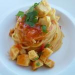 78994221 - 気仙沼メカジキのスパゲティーニ サフランの香りを付けたトマトソース 柑橘類のカンディート コリアンダーの香り