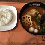 SAMA - チキン野菜カリー(エビスープ、7辛)withライス