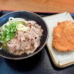 こがね製麺所 - 肉ぶっかけ冷とチキンカツ