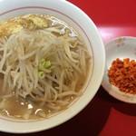 千里眼 - ラーメン 麺160g ヤサイ半分・ニンニク・ショウガ増し・カラアゲ増し別皿で 730円
