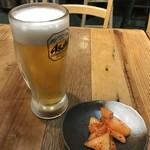 とんかつ 熊さん - 晩酌セットのビール