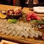 うえ田 - 刺身。ふぐ、鯨、トロ、鯖、とり貝、煮蛸 etc・・・。はい、最高に美味しいです。