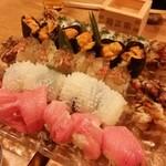うえ田 - お寿司。トロ、イカ、穴子、ウニ、海老。美味しいです。