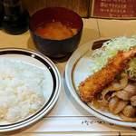 キッチン南海 - キッチン南海 @上井草 エビフライ・しょうが焼ライス 税込780円 ライス少な目でお願い