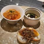 西麻布 K+ - 料理写真:トリッパの煮込み、蒸アワビとキャビア、とろり半熟漬け卵と黒トリュフ
