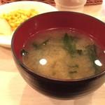 洋食屋 もりもり - 国産牛霜降りステーキ(200g) 3,300円 セットのお味噌汁