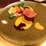 ハミルトン アール - 宮崎牛のロティ      熟成ゴールドラッシュと林檎とグリーンペッパー