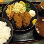 味の大善 - かきフライ定食(800円)