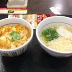 なか卯 - ミニ親子丼350円とミニハイカラうどん160円