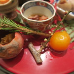 日本料理 太月 - 30年1月 あんぽ柿膾、金柑