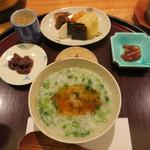日本料理 太月 - 30年1月 七草粥 山葵醤油漬け、ジャコ、お新香、鱧浮袋照り煮