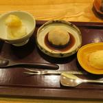 日本料理 太月 - 30年1月 大和芋と栗のきんとん 葛饅頭、はったい粉黒蜜 キャラメルアイス