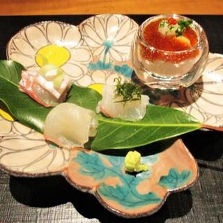 おおたに - 料理写真:造り:平目のお造りと鱈の白子ポン酢。      2018.01.06