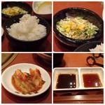 清香園 - ◆ご飯、サラダ、キムチ。たれ2種。