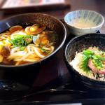 木更津庵 - あさりうどん・ミニまぐろすき身丼セット(1,390円)