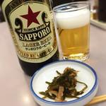 79122695 - 大瓶ビール(赤星)&お通し