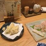 79135140 - ふぐ白子天ぷらと鱸昆布締め