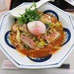 リンガーハット - 『えびトムヤムちゃんぽん』+温度卵(温泉玉子)で税込1,015円位。