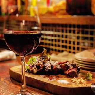 美味しい肉と世界各国から厳選したワイン