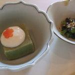 梅の花 - 花ランチ(すぎな豆腐、菜の花と木耳の辛子和え)