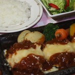 レストラン 朱鷺 - ヒレカツのチーズ焼き