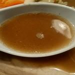 79204580 - ネーミングどおり強烈な煮干しがガツンと効いています。 それに動物系のスープを合わせた濃厚な味。