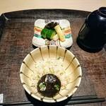 いはら田 - 椎茸の土鍋ご飯、味噌汁、香の物