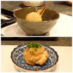 たつかわ - 追加で ◆黒トリュフのじゃがバター串揚げ ◆鱈の白子の串揚げ
