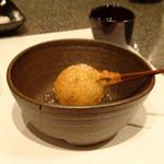 たつかわ - ◆黒トリュフのじゃがバター串揚げ これ美味しい。バター風味もよくトリュフ塩がよく合います。