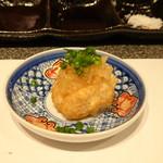 たつかわ - ◆鱈の白子の串揚げ  みぞれぽん酢 生姜 葱 上質な白子を使用されているので美味しい。みぞれポン酢がサッパリします。