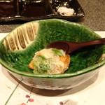 たつかわ - ◆煮蕪の素揚げ ずわい蟹と芹の餡掛け