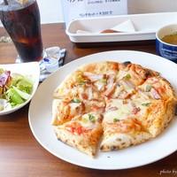 ダイニングカフェゴチ-2017年10月 ピザセット(ベーコンピザ、アイスコーヒー)【1300円】