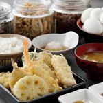 魚がし天ぷら 魚天 - 魚がし定食 ※野菜4種・魚3種・  海老1尾・ 厚焼き玉子