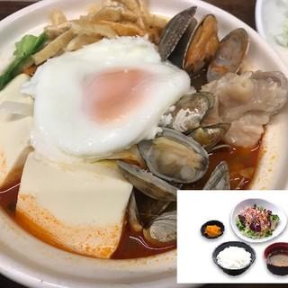 ☆冬のお勧め♪魚貝の旨み!あさりたっぷりスンドゥブチゲ定食☆