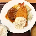 ワインとオマール海老の店 UOMO - エビフライ&ハンバーグ定食