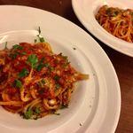 イタリア食堂SORA - ☆ソーセージとキノコのトマトソース 1200円 オイルベースだったようですがご相談してトマトソースでお願いしました。ソーセージは自家製、ふたつに分けて出してくださってありがたかったです。