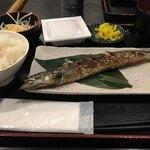 川崎銀柳街のひもの屋 - 焼きサンマ定食