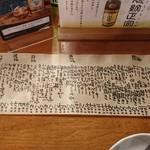 魚がし料理佃喜知 - メニュー