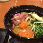 丸亀製麺 - 鍋焼きうどん 640円 コンロ調理前