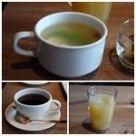 79298212 - *スープと言うよりお豆腐入りのお味噌汁ですね。 *ドリンクは「オレンジジュース」と「珈琲」を。